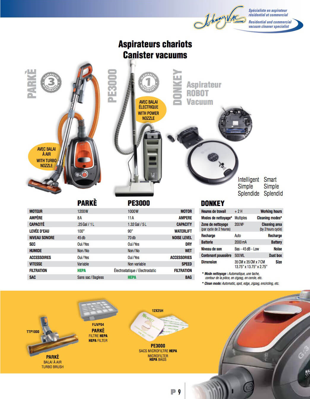 aspirateur johnny vac residentiel et commercial